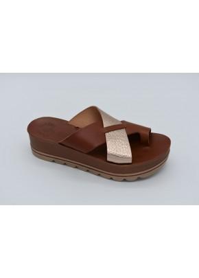 Γυναικεια Παπουτσια - gynaikeia kafe flatforms me daxtylo pantofle
