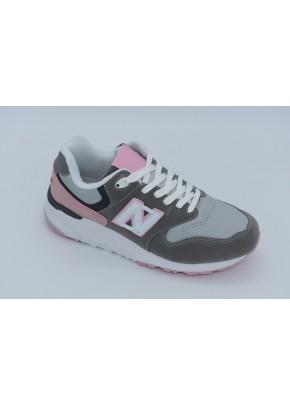 Γυναικεια Παπουτσια - gunaikeia sneakers gri me roz